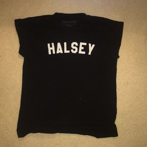 Tops - HALSEY white on black graphic tee